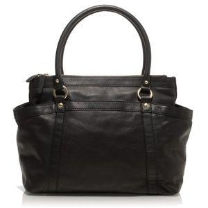 J Crew RARE large Georgie  black leather satchel